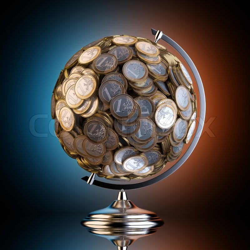 Desktop Globus aus Geld geschaffen. für    Stockfoto   Colourbox