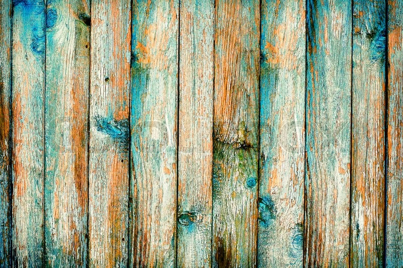 Rustic Wooden Fence Purification Of Blue Paint