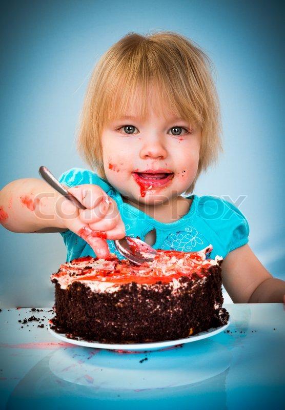 Little Baby Girl Kuchen Essen Stockfoto Colourbox