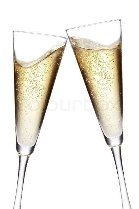 Champagne Flutes Toasting Isolated On White Background
