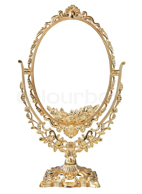 Greatest Antique baroque brass gold frame and mirror isolated on white  YG73