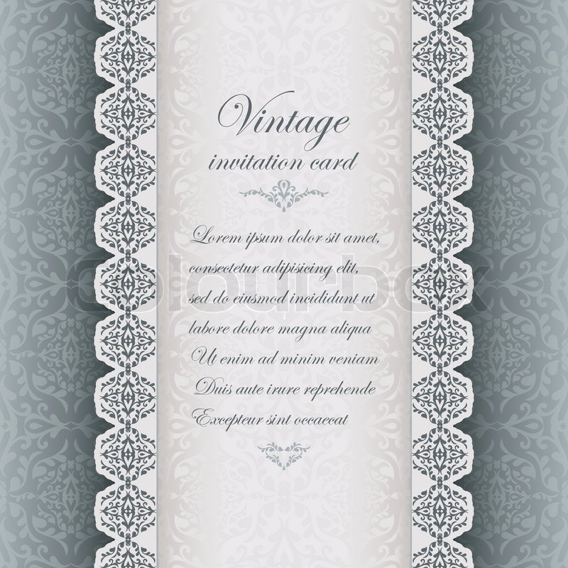 Vintage background antique greeting card invitation with lace and stock vector of vintage background antique greeting card invitation with lace and floral stopboris Images