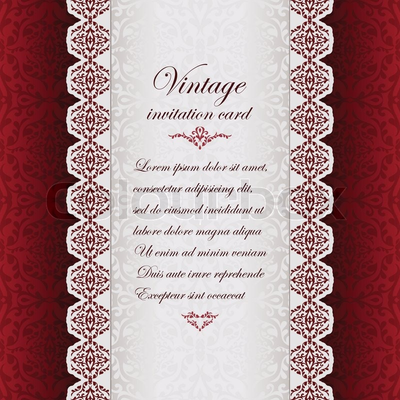 Vintage background antique greeting card invitation with lace and