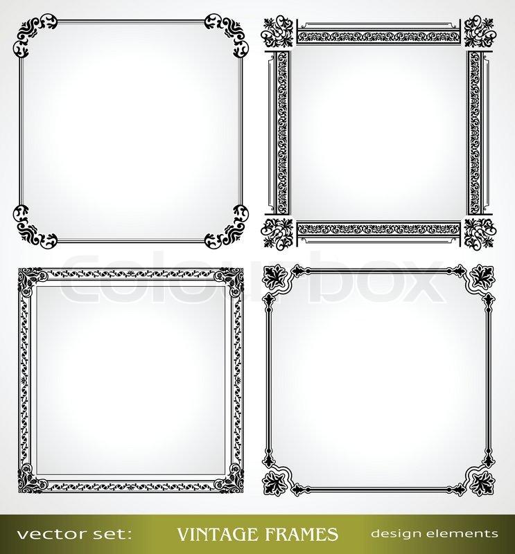 vintage frames set calligraphic victorian ornamental