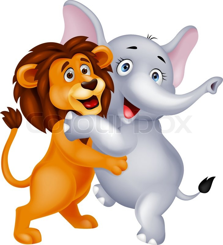 Vector Illustration Of Lion And Elephant Cartoon Embracing