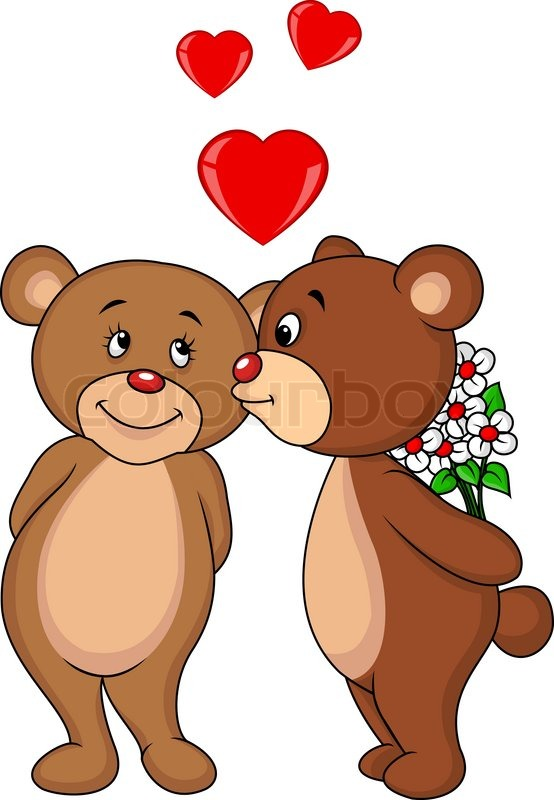 Cartoon Characters Kissing Each Other : Vector illustration of bear couple cartoon kissing