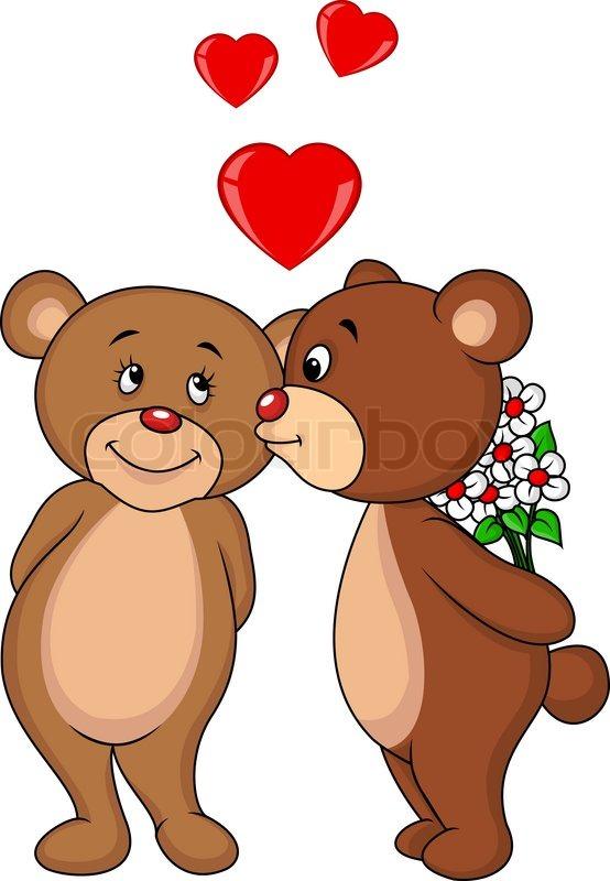 Vector illustration of Bear couple cartoon kissing | Stock ...