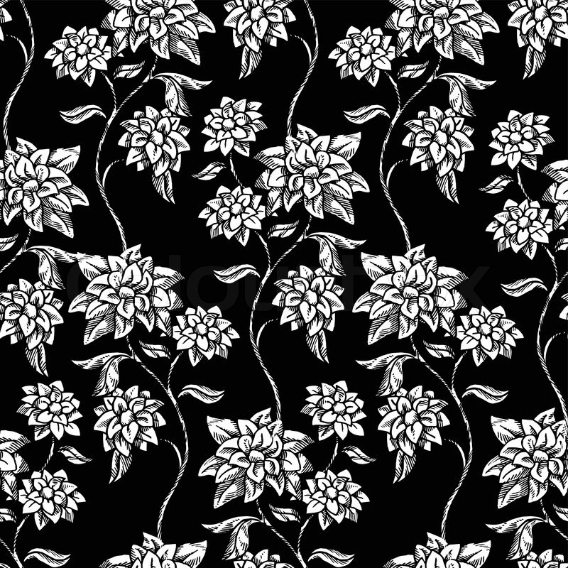 Vintage Floral Background Beautiful Flowers Fashion Seamless Pattern Colorful Vector Wallpaper Victorian Graphic Wrapping Oldest Style Swatch Fabric