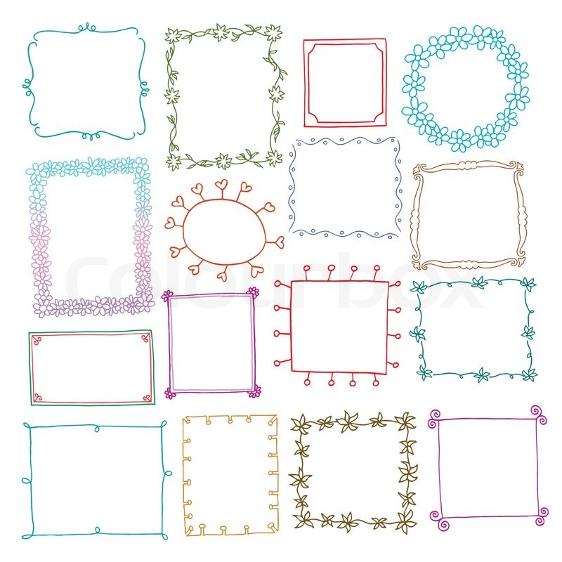 Vintage photo frames set, doodle style, ornamental and cute photo ...