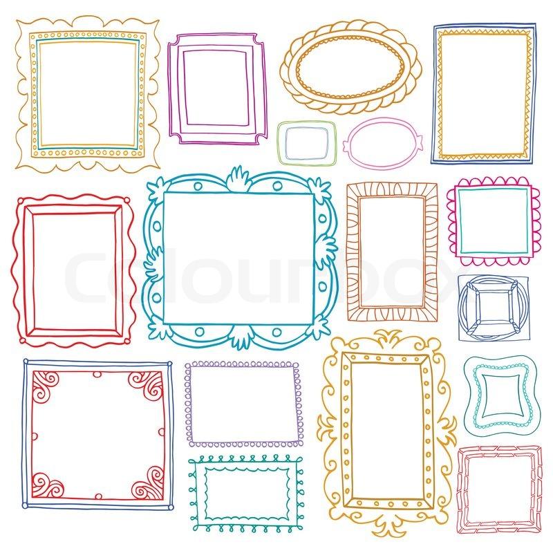 Vintage foto frames sæt, Doodle stil , dekorative og søde foto farvede rammer til dekoration og ...