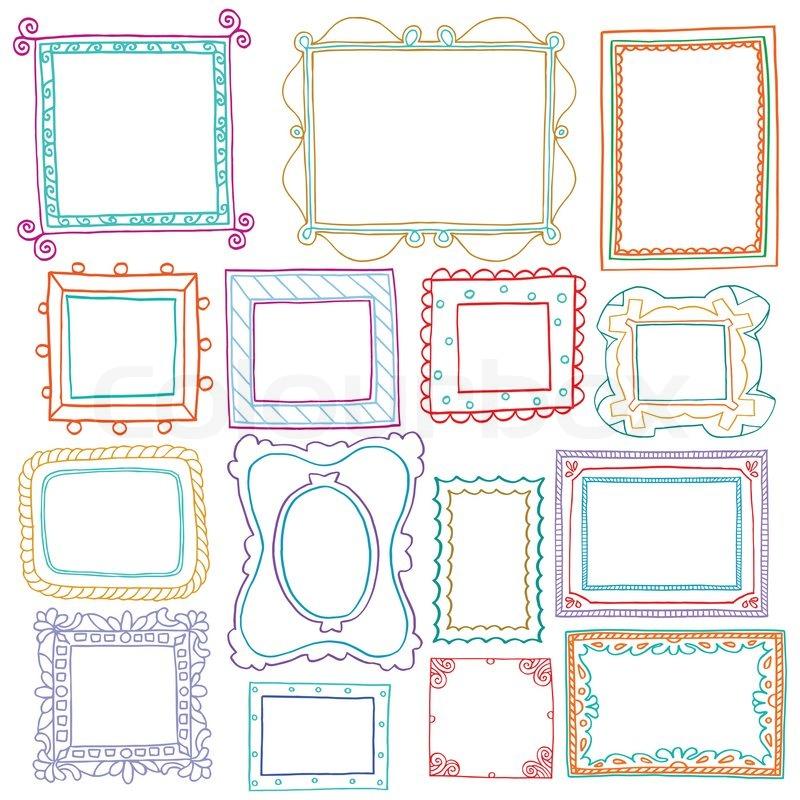 vintage bilderrahmen set doodle stil zier und nettes foto farbigen rahmen f r die dekoration. Black Bedroom Furniture Sets. Home Design Ideas