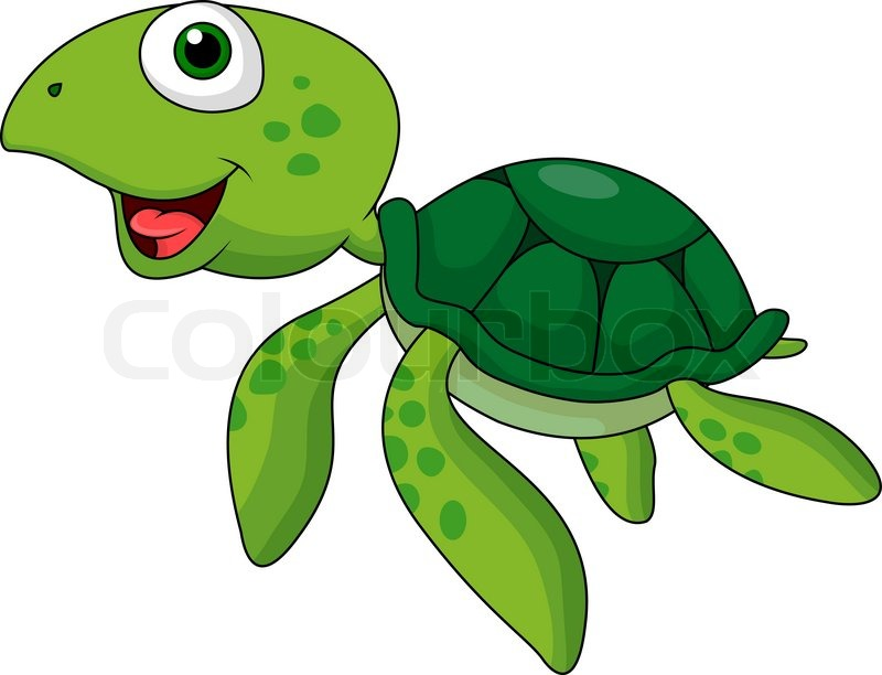 Vector illustration of sea turtle cartoon swimming  Stock Vector