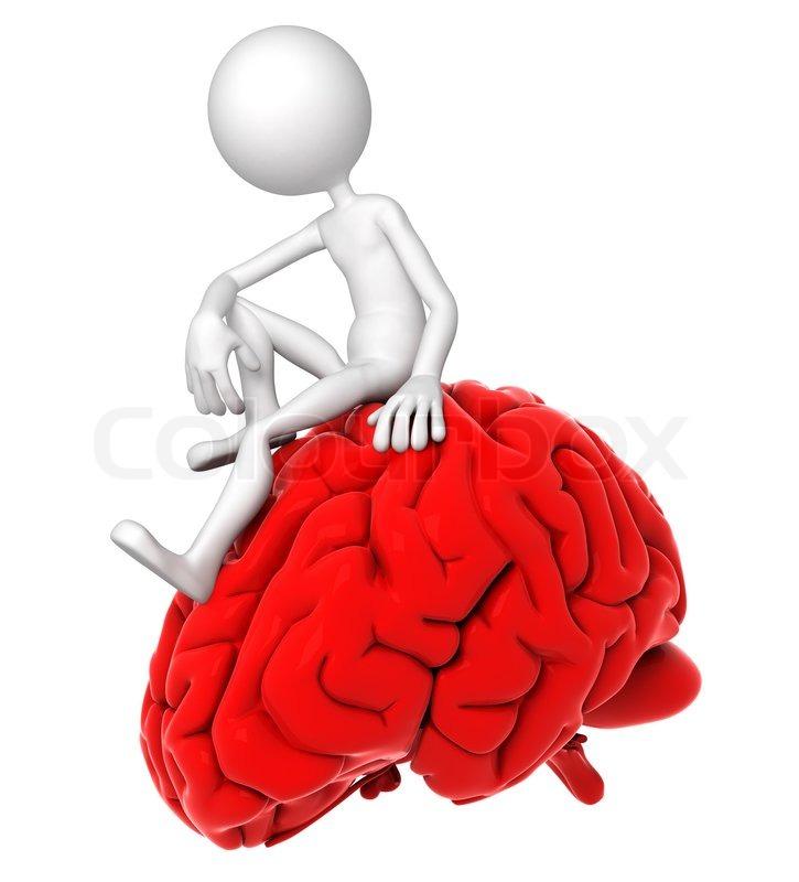 3d Person sitzt auf rotem Gehirn in einer nachdenklichen Pose ...