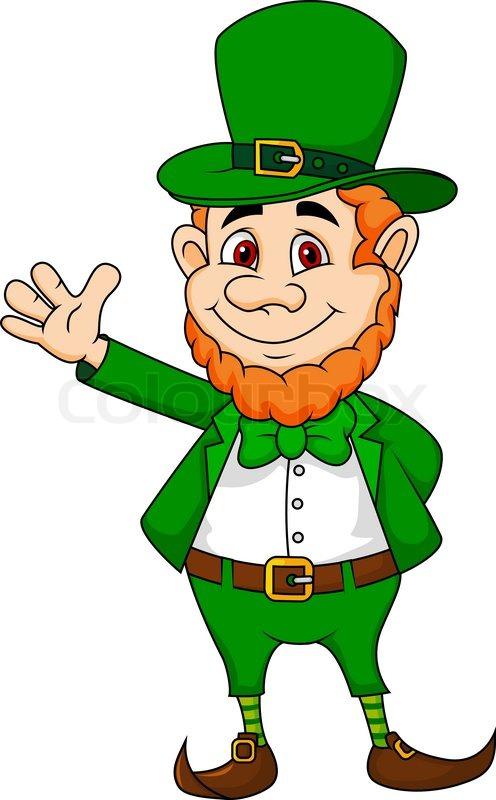 vector illustration of leprechaun cartoon waving hand stock vector rh colourbox com leprechaun hat vector free leprechaun free vector download