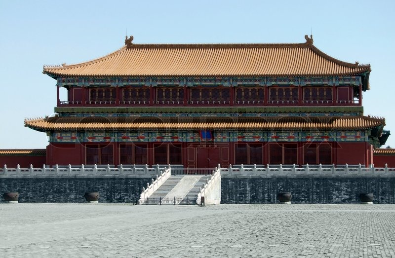Scenery inside the Forbidden City in Beijing China. The Forbidden City was the imperial palace from the Ming Dynasty to the end of the Qing Dynasty, stock photo
