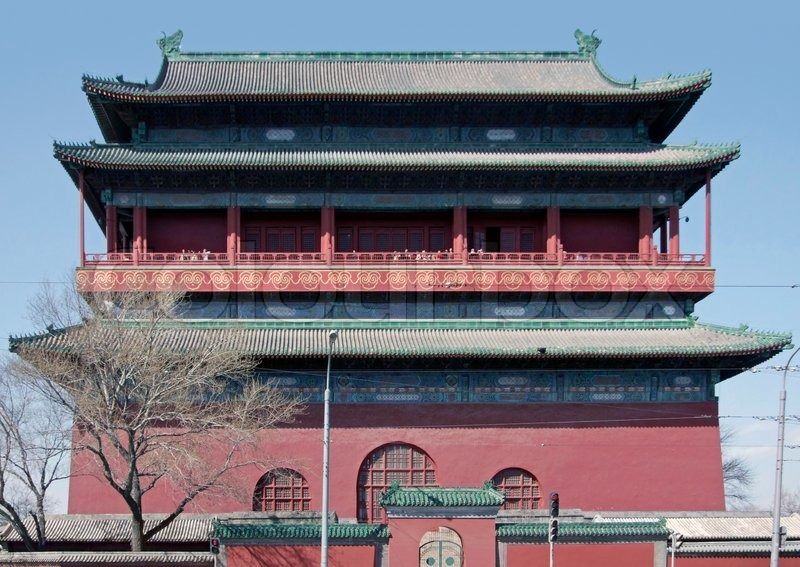 Building of the Forbidden City in Beijing China. The Forbidden City was the imperial palace from the Ming Dynasty to the end of the Qing Dynasty, stock photo