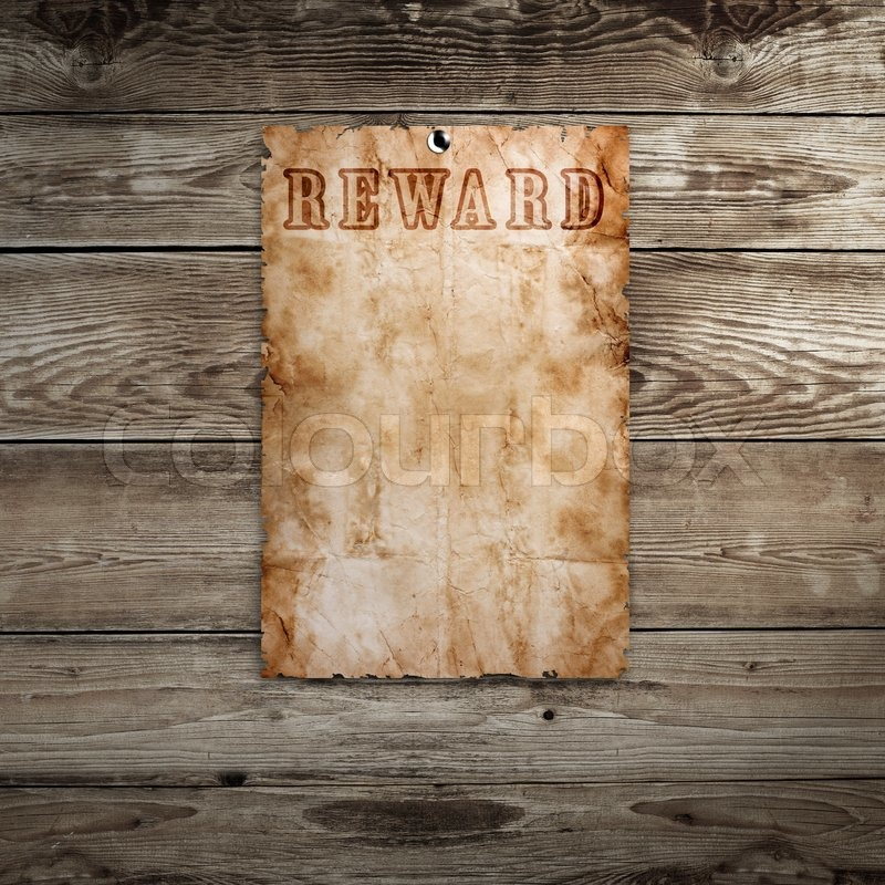 old western wanted poster auf holzuntergrund stockfoto. Black Bedroom Furniture Sets. Home Design Ideas