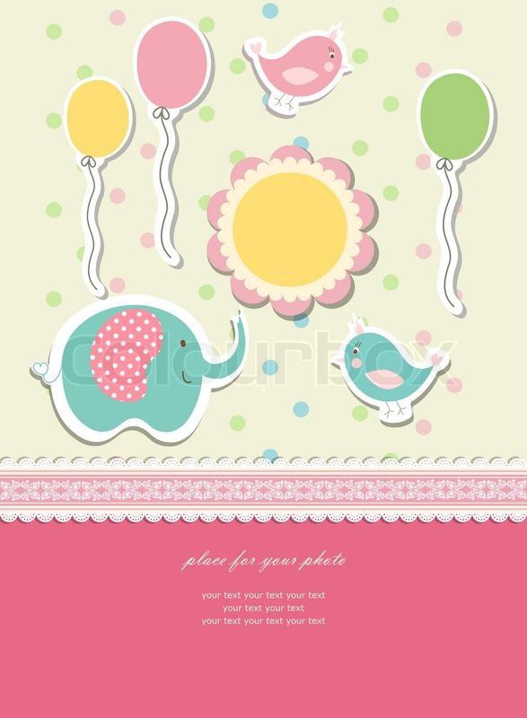 Baby Card For Happy Birthday Vector Stock Vector Colourbox