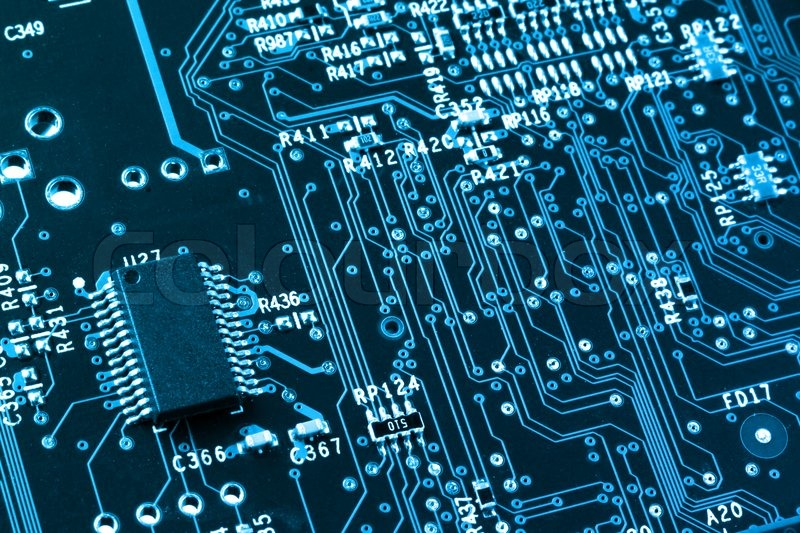 computer microprocessor on integrated circuit motherboard