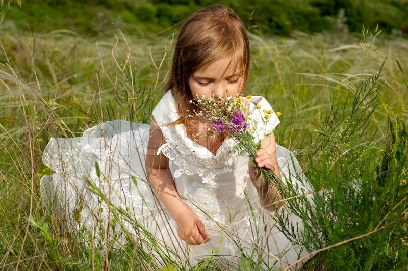 Children Nature Sunlight Blonde Depth Of Field White Dress: Beautiful Girl In The Clothes Of Bride On The Field With