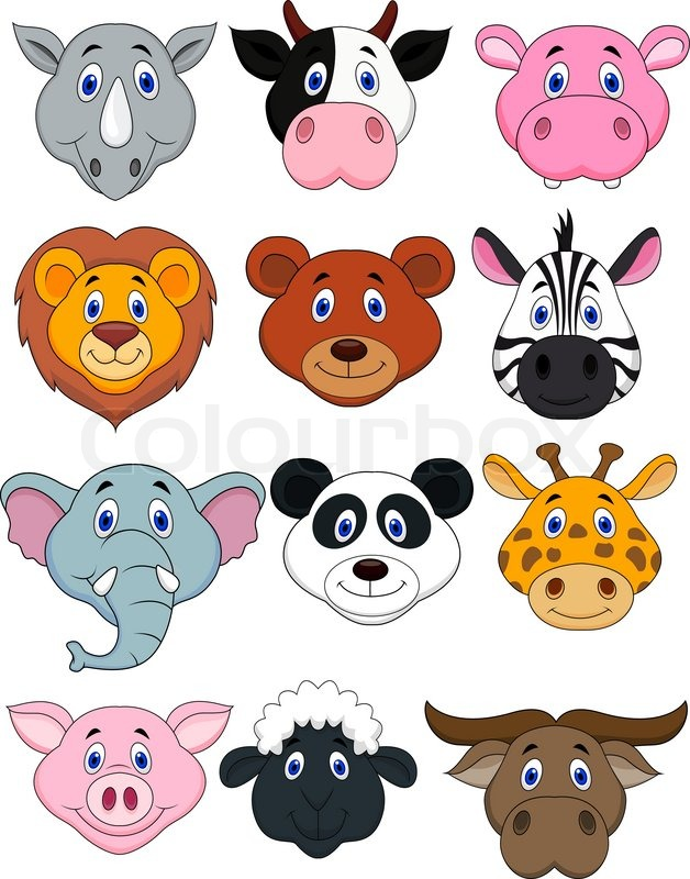 cartoon animal head icon stock vector colourbox Elephant Clip Art Monkey Clip Art