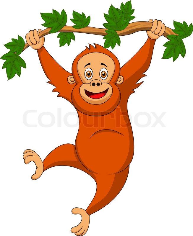 Cartoon Baby Monkey Hanging From Tree
