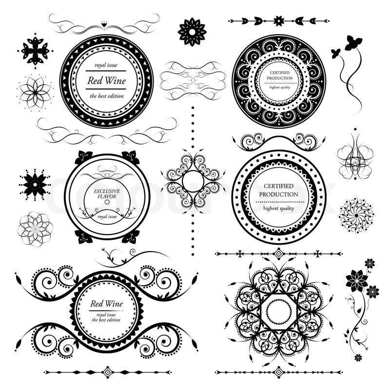 Illustration Art Design Vector Element Scroll Shape Decoration Swirl Retro Victorian Ornament Background Black Frame Style Graphic Label