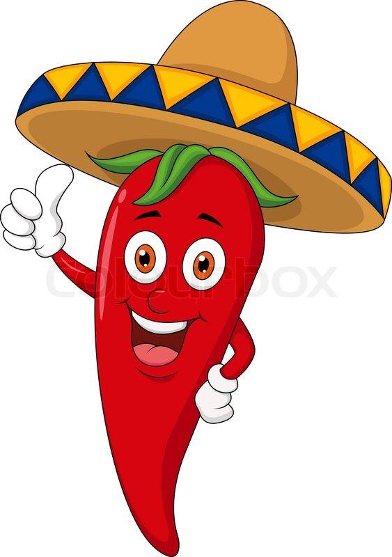 Vector illustration of Chili cartoon with sombrero hat | Stock Vector | Colourbox