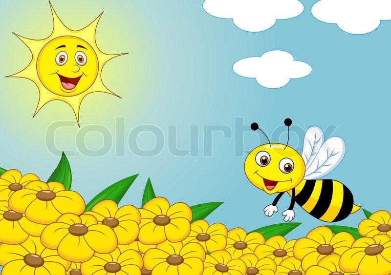 Happy bee cartoon on the flower field | Stock Vector ...