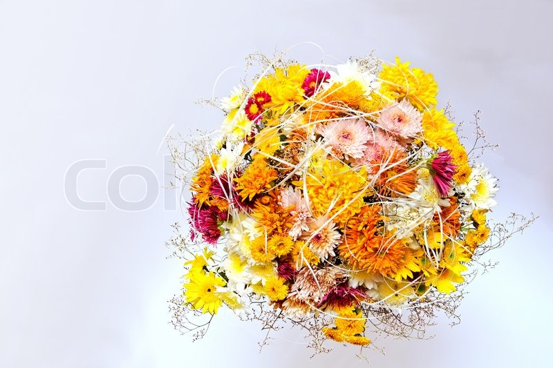 Flower arrangement of pink yellow and white chrysanthemums stock flower arrangement of pink yellow and white chrysanthemums stock photo mightylinksfo