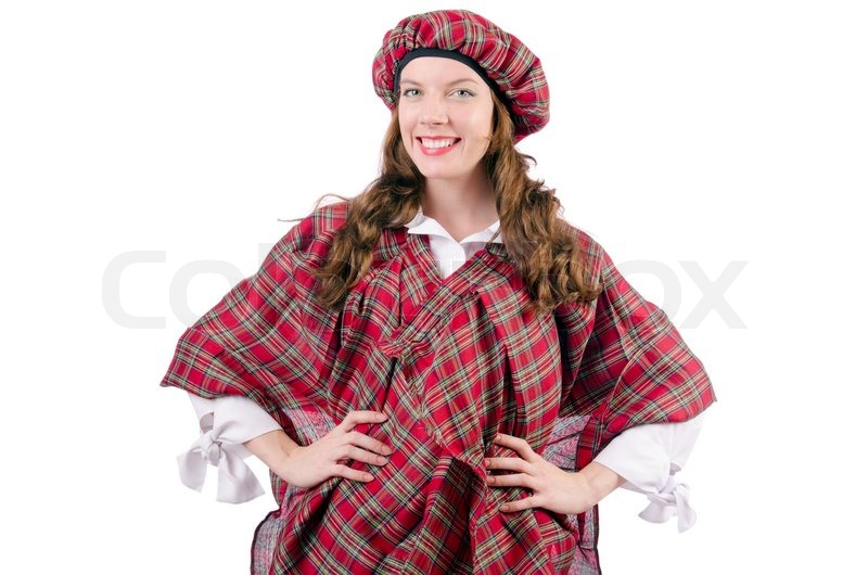young woman in traditional scottish clothing stock photo