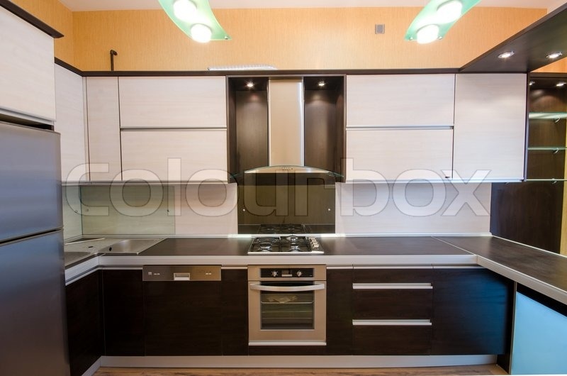 interior of modern kitchen stockfoto colourbox. Black Bedroom Furniture Sets. Home Design Ideas