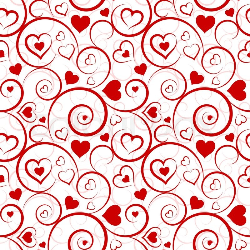 Love Seamless Pattern Red Hearts And Swirls On White