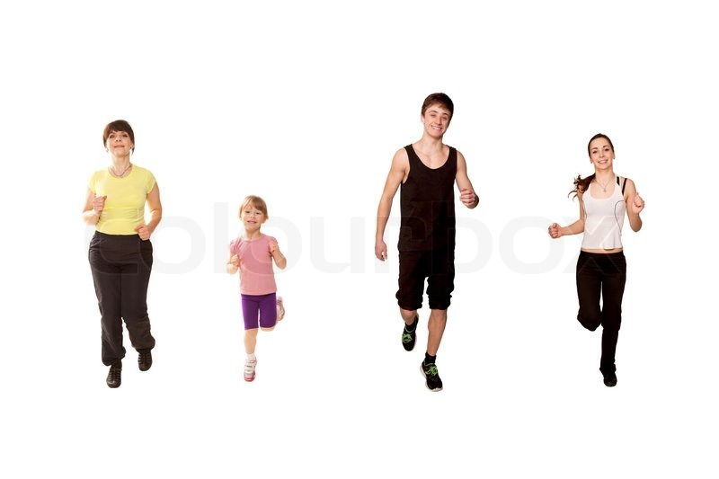 Mother And Three Children A Little Girl Two Teenagers Boy Running Fitness Workout Isolated On White Background