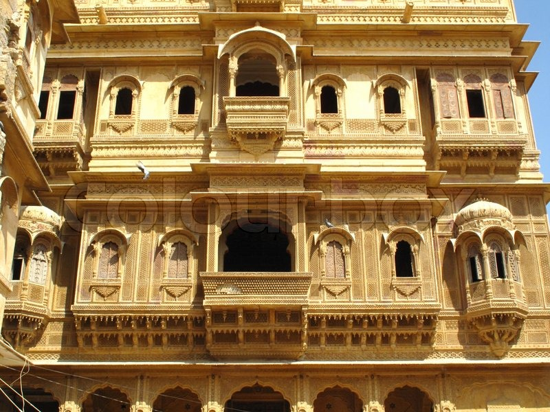 Jaisalmer Stone Elevation : Architecture of jaisalmer rajasthan india stock photo