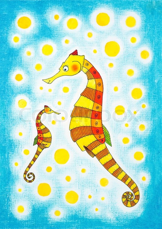 Seahorses, child's drawing, watercolor painting on paper ...
