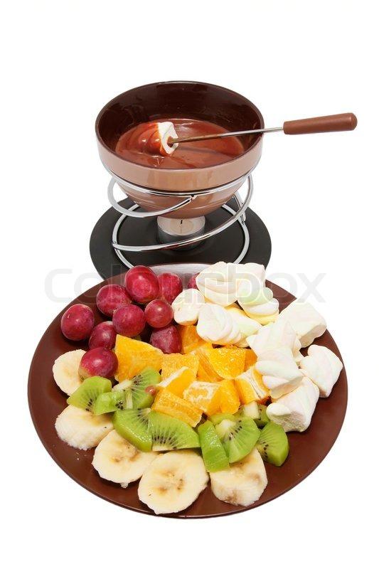 Velsete Chokolade fondue og skåret frugt på en   Stock foto   Colourbox AF-67