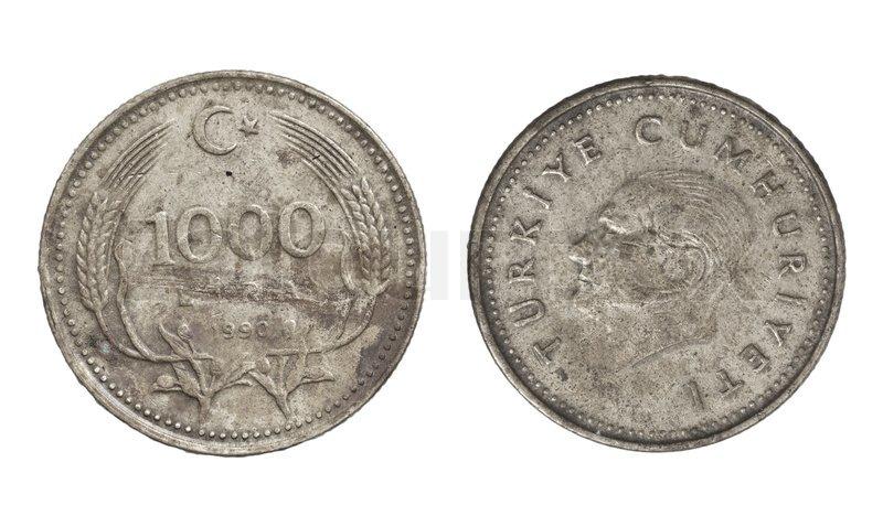 Türkische Lira Münze Auf Einem Weißen Hintergrund Stockfoto