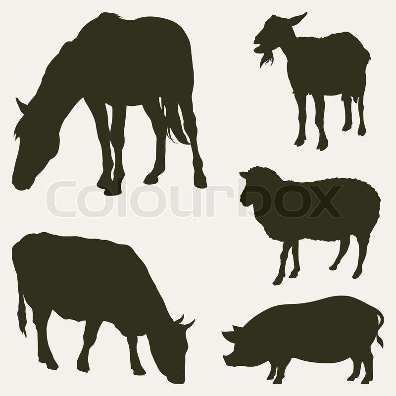 Farm animal head silhouettes - photo#7