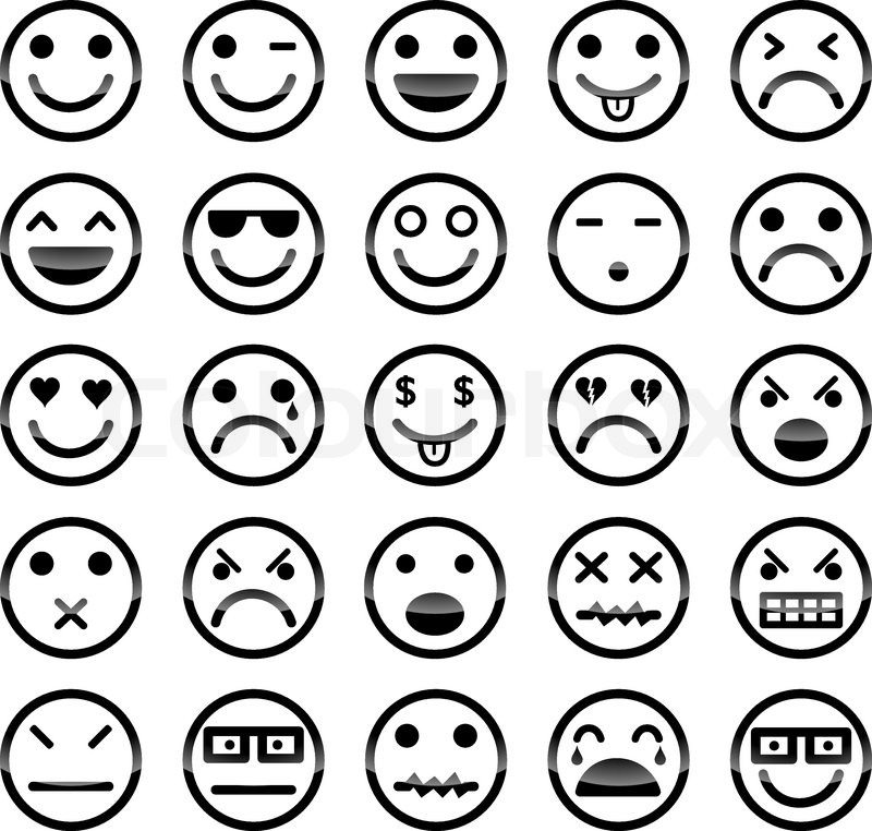 Smiley icons vektorgrafik colourbox - Smiley simple noir et blanc ...