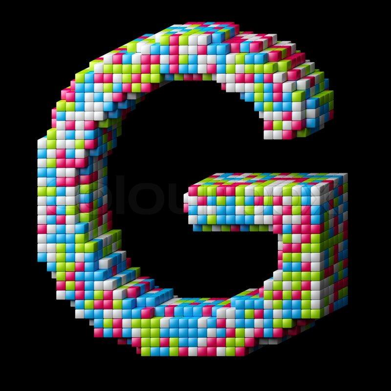 3d pixelated alphabet letter G | Stock Photo | Colourbox