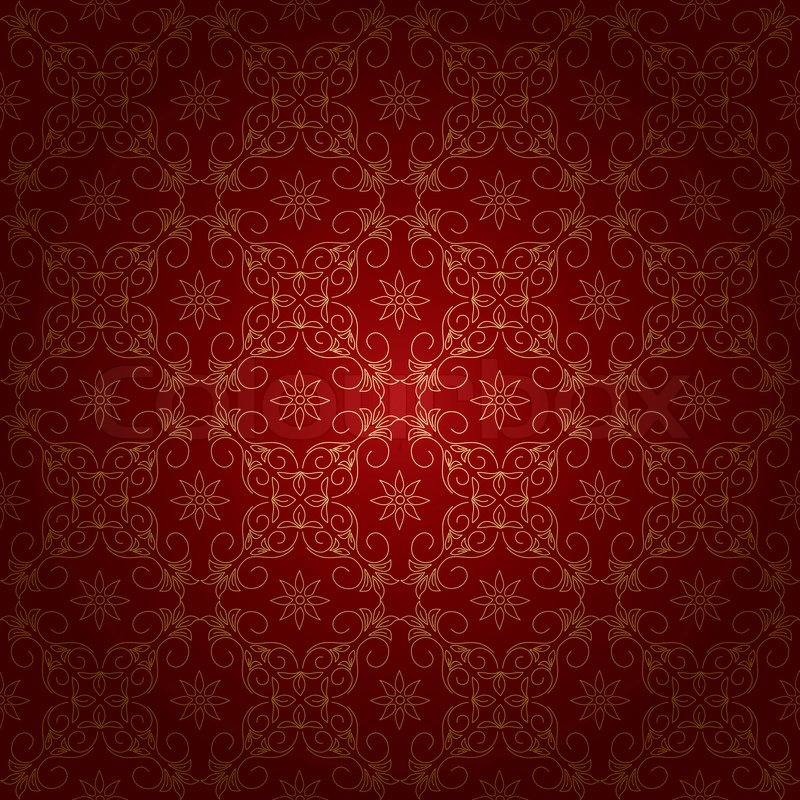 Red beautiful vintage background with gold ornament ...