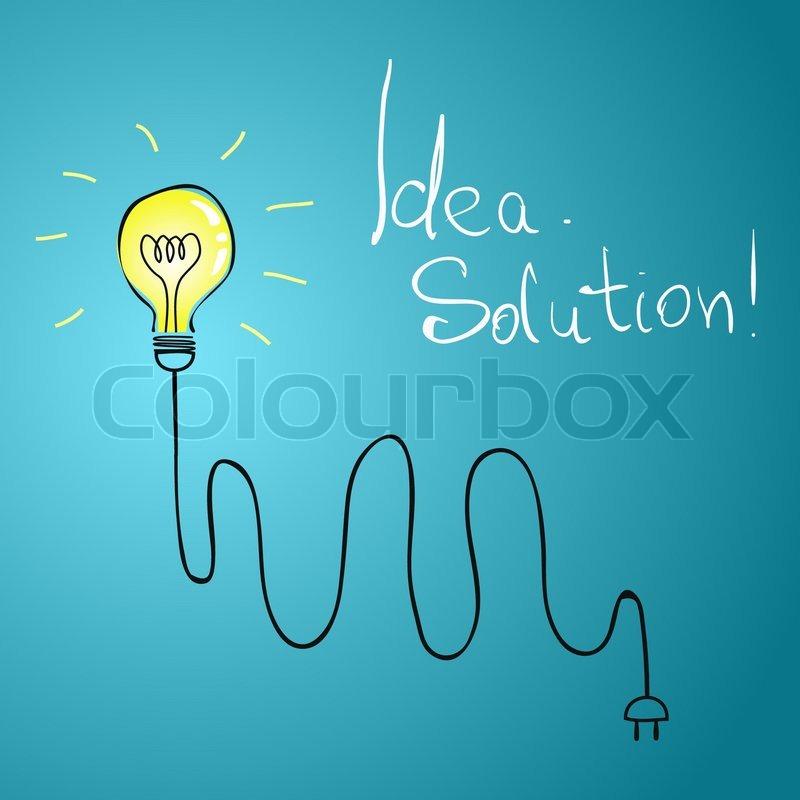 Idea bulb with wire illustration | Stock Vector | Colourbox