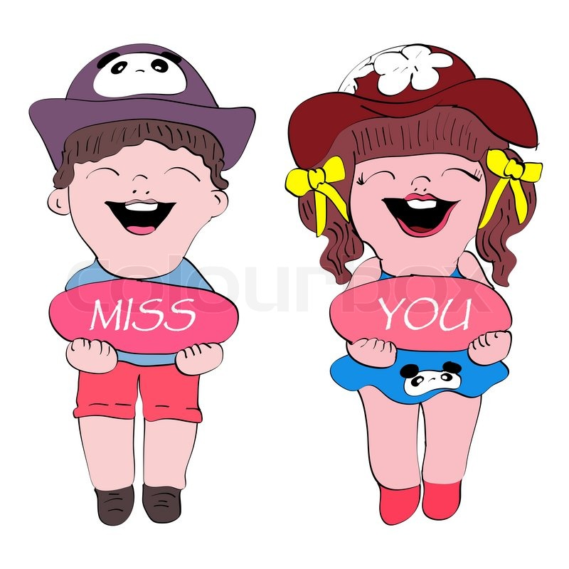 Miss You Cute Boy And Gril Cartoon Stock Image Colourbox