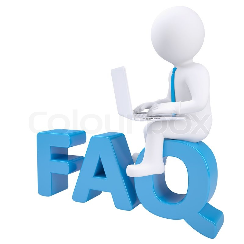 Faq: 3d White Man With Laptop Sitting On The Word FAQ. Isolated
