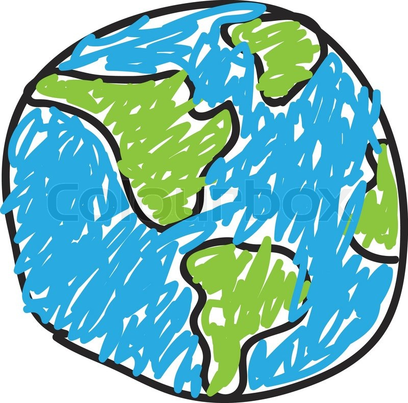 hand drawn globe eco doodles