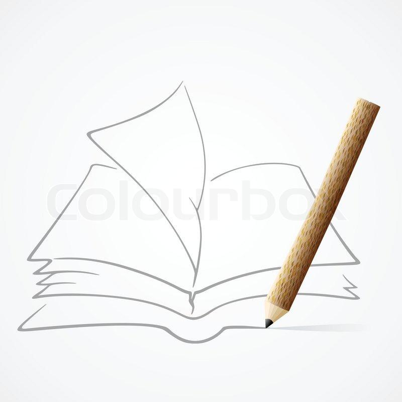 Book Pencil Drawing Pencil Drawing Book Eps10