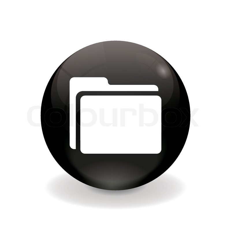 folder icon black and white. Delighful And Round Black Button  Folder Icon Vector Throughout Folder Icon Black And White