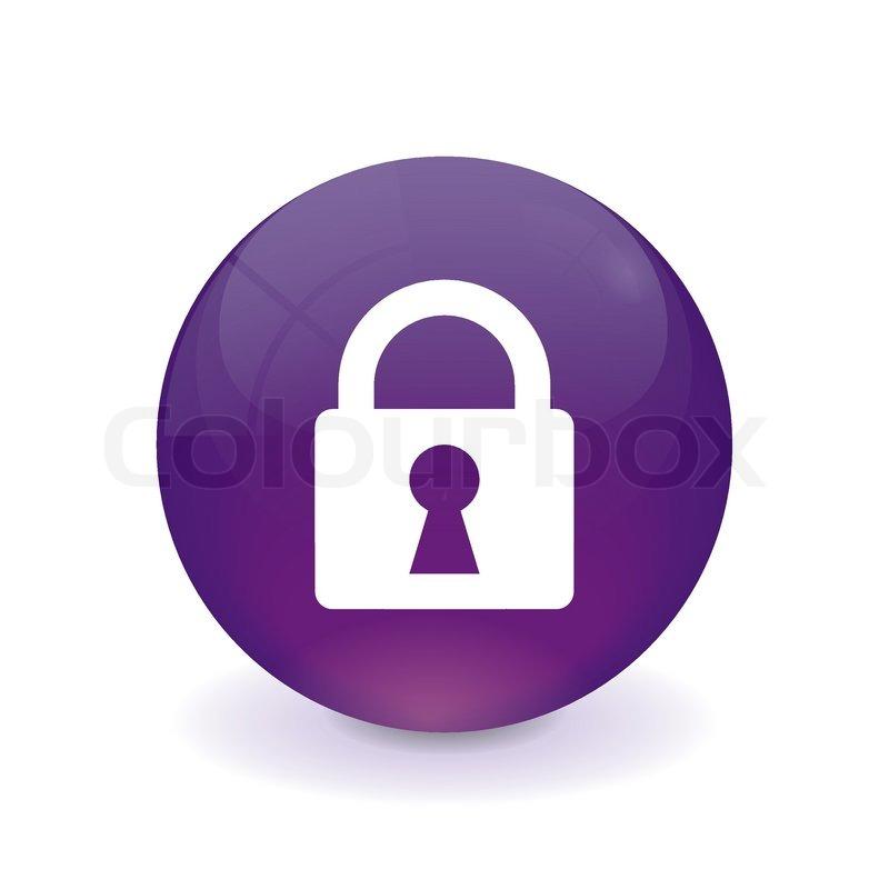 Round Purple Button Lock Icon Stock Vector Colourbox