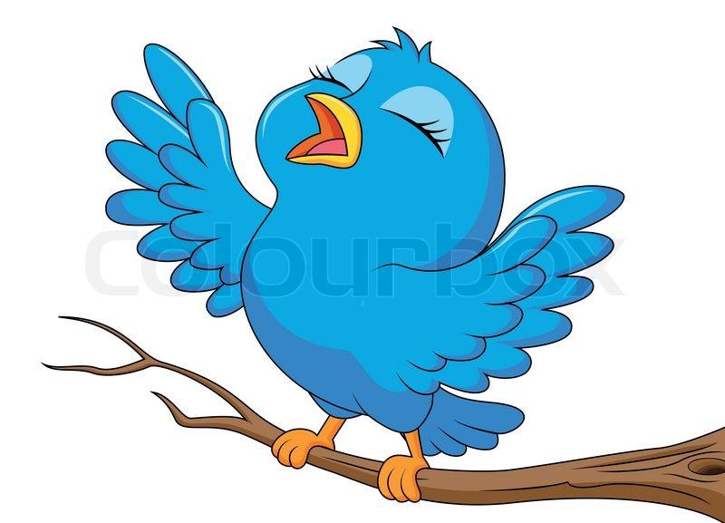 Stock vector of vector illustration of blue bird cartoon singing